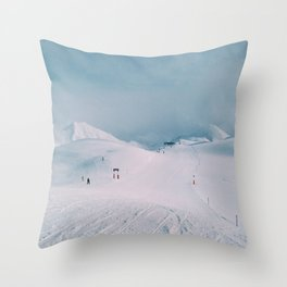 Skiing in the Alps Throw Pillow
