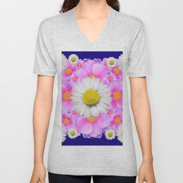 Pink Roses Blue Color Shasta Daisies Pattern Garden Unisex V-Neck