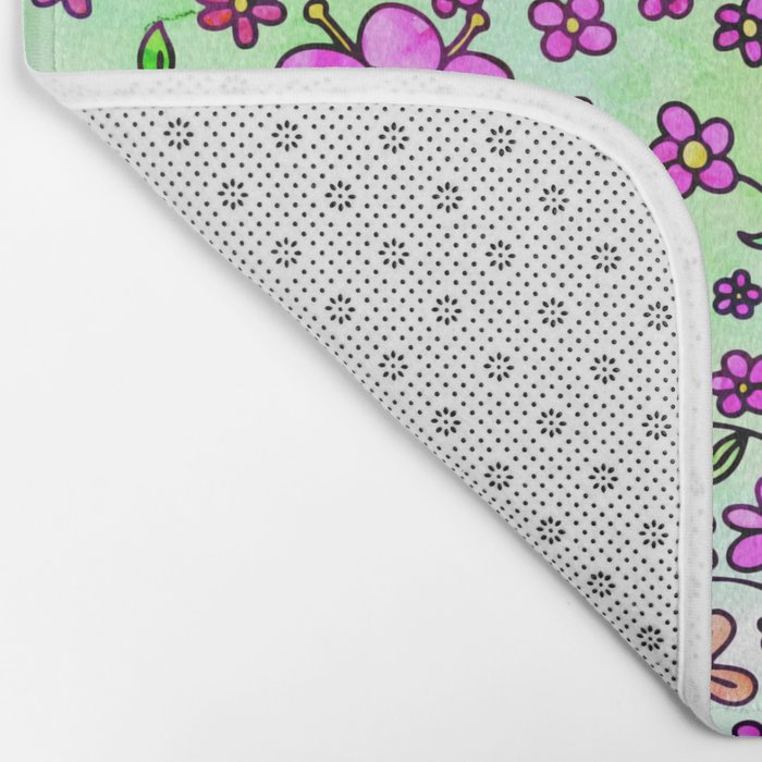 Pink Small Flowers Bath Mat