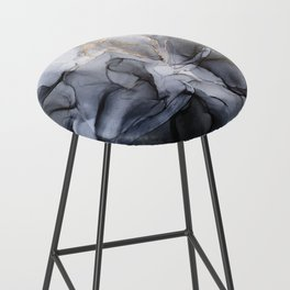 Calm but Dramatic Light Monochromatic Black & Grey Abstract Bar Stool