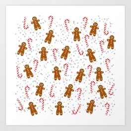 Gingerbread man wishes you Merry Xmas! - White Art Print