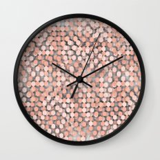 Hexagonal peach color background Wall Clock