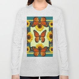 Teal & Orange Monarch Butterflies  Sunflower Patterns Art Long Sleeve T-shirt