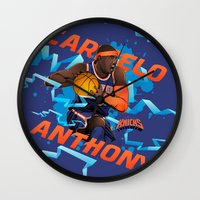 nba Wall Clocks featuring NBA Stars: Carmelo Anthony by Akyanyme