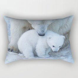 Polar Bear Mother and Cub portrait. Rectangular Pillow