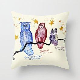 owl family watercolor Throw Pillow