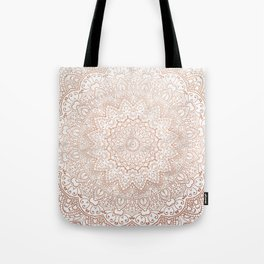 Mandala - rose gold and white marble 3 Tote Bag