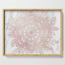 Queen Starring of Mandala-White Marble Serving Tray