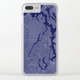 Puget Sound Washington State Nautical Chart Map Print 1956 Dark Blue, Map Art Prints Clear iPhone Case