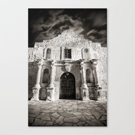 Black & White/Sepia-toned photograph of the Alamo, in San Antonio, TX Canvas Print