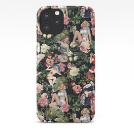 Floral and Pin Up Girls Pattern iPhone Case