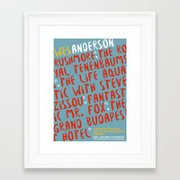 wes anderson Framed Art Prints featuring Wes Anderson - The Life Aquatic by Laura Mace Design