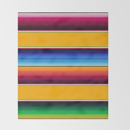 Traditional Mexican Serape in Yellow Multi Throw Blanket