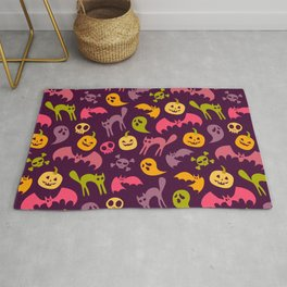 Neon Halloween Pattern - Purple Background Rug