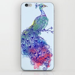 Calm Blue Peacock iPhone Skin