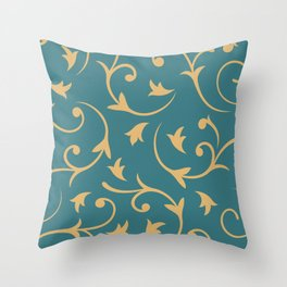 Baroque Design – Gold on Teal Throw Pillow