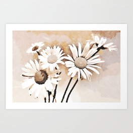 Blooming bouquet of daisies Art Print