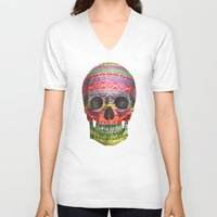 navajo V-neck T-shirts featuring Navajo Skull  by Terry Fan