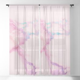 Pink Iridescent Vein Marble Sheer Curtain