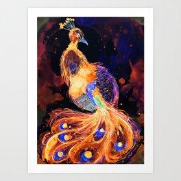 Burning Peacock Phoenix Art Print