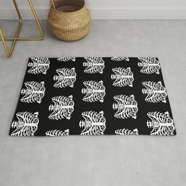 Human Rib Cage Pattern Black and White 2 Rug