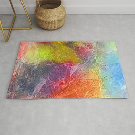 Watercolor multicolored texture, abstract paint stains, crumpled paper, wrinkles Rug