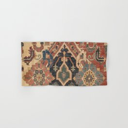 Geometric Leaves I // 18th Century Distressed Red Blue Green Colorful Ornate Accent Rug Pattern Hand & Bath Towel