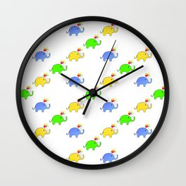 Party Elephants Pattern Wall Clock