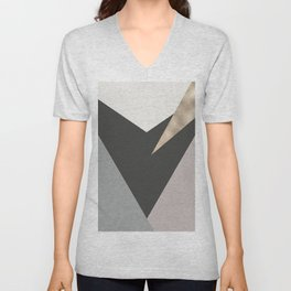 Abstract geometrical faux gold black gray triangles pattern Unisex V-Neck