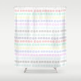 Colored boxes drawn by pen on white background Shower Curtain