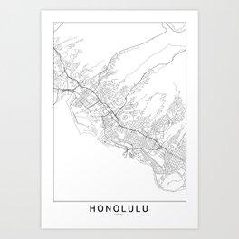 Honolulu White Map Kunstdrucke