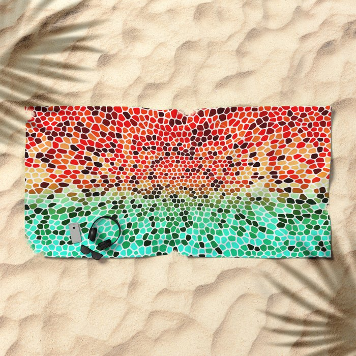 THINK MINTY ORANGE Beach Towel