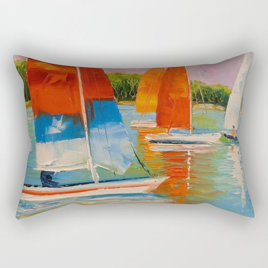Sailboats on the river Rectangular Pillow