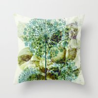 dandelion Throw Pillows featuring dandelion by clemm