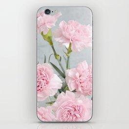 Elegant modern blush pink green carnations floral iPhone Skin