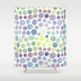 Dots purple and green Shower Curtain