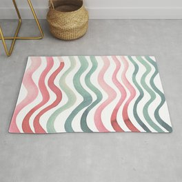 Wavy lines - coral and willow Rug