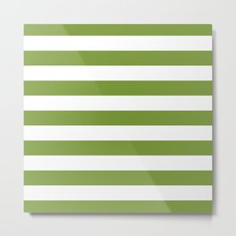 Green and White Stripes Metal Print