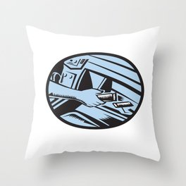Hand Reaching in Glove Box for Energy Bar Oval Woodcut Throw Pillow