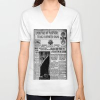 duvet cover V-neck T-shirts featuring THE HISTORY OF SHIP DUVET COVER by aztosaha