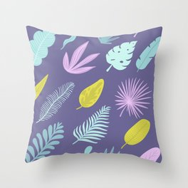 Leaves on blue Throw Pillow