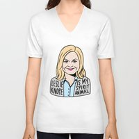 leslie knope V-neck T-shirts featuring Leslie Knope is my spirit animal by kate gabrielle