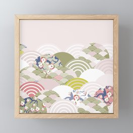 scales simple Nature background with japanese sakura flower, rosy pink Cherry, wave circle pattern Framed Mini Art Print