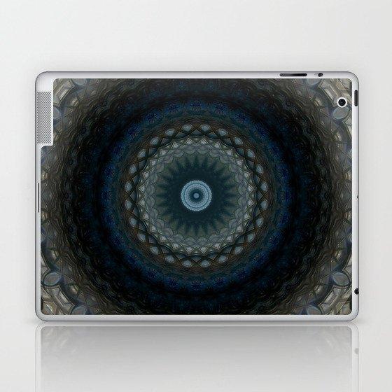 Detailed mandala in grey and blue tones Laptop & iPad Skin