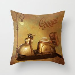Goggo scooter from the 50s Throw Pillow