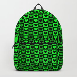 Green and Black Heart Pattern Backpack