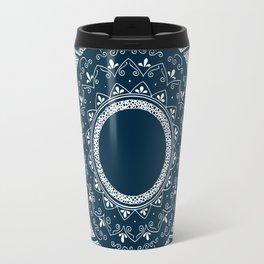 Precious white mandala on blue Travel Mug