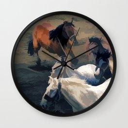 Breaking Away   -  Wild Horses Wall Clock