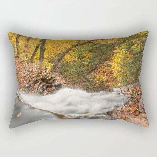 Autumn Waterfall Precipice Rectangular Pillow