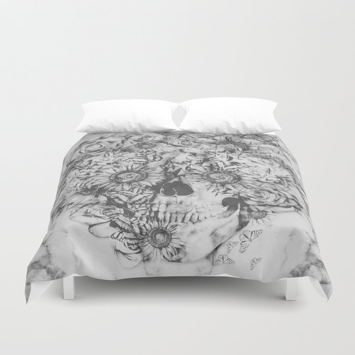 Bookmatched Marble Skull Duvet Cover By
